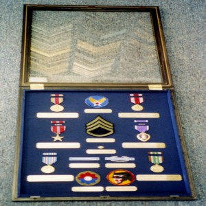 Military memorabila in custom built case