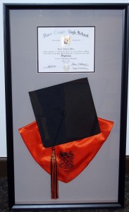 Graduation cap, hood and diploma