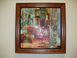 Oil painting in custom made wide floater frame